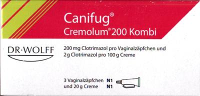 Canifug Cremolum 200 3 Vaginalzäpfchen und 20g (PZN 07142128)