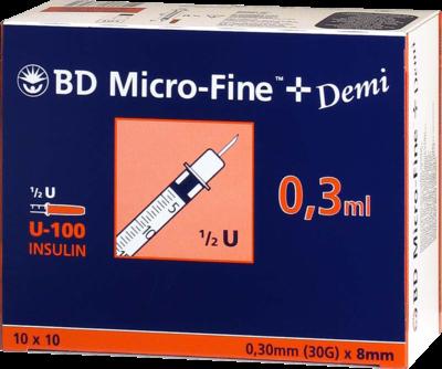 BD Micro-Fine + Demi U-100 Insulinspritzen 0,3x8mm (PZN 04144150)