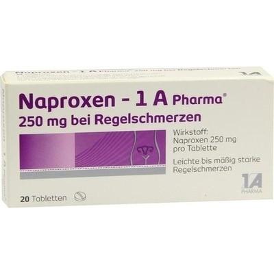 Naproxen 1a Pharma 250 mg bei Regelschmerzen (PZN 09245016)